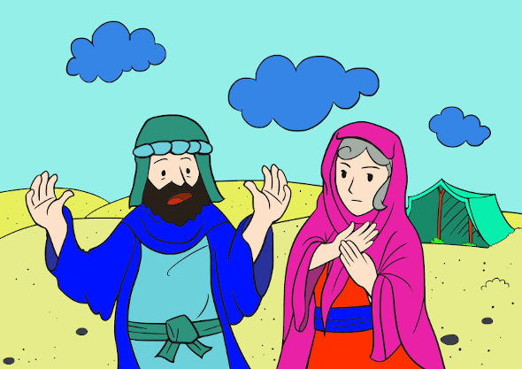 Bild: Abraham und Sara. Digital ausgemalt.